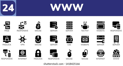 www icon set. 24 filled www icons.  Collection Of - Page, Responsive, Mouse, Server, Tea pot, Website, Padlock, Vpn, Css, Internet, Www