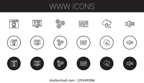 www icons set. Collection of www with browser, website, buttons, server, mute. Editable and scalable www icons.