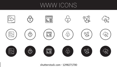 www icons set. Collection of www with fast forward, padlock, website, mouse, server. Editable and scalable www icons.