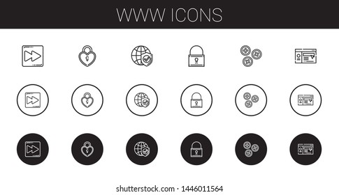 www icons set. Collection of www with fast forward, padlock, internet, buttons, website. Editable and scalable www icons.