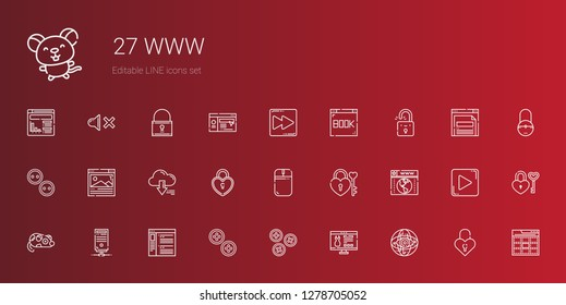www icons set. Collection of www with internet, website, buttons, browser, server, mouse, padlock, fast forward, web, play button, mute. Editable and scalable www icons.