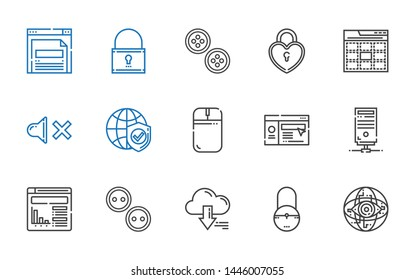 www icons set. Collection of www with internet, padlock, server, buttons, website, mouse, mute, web, browser. Editable and scalable www icons.