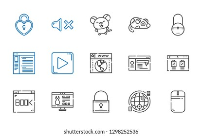 www icons set. Collection of www with mouse, internet, padlock, website, browser, play button, mute. Editable and scalable www icons.