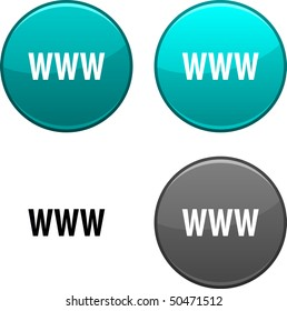 WWW round buttons. Black icon included.