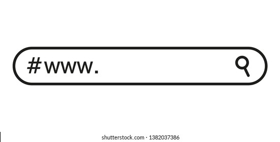 www search bar icon. Vector illustration isolated on white background. www search bar icon for web site, app, ui and logo. Concept search and www.