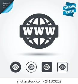 WWW sign icon. World wide web symbol. Globe. Circle and square buttons. Flat design set. Thank you ribbon. Vector