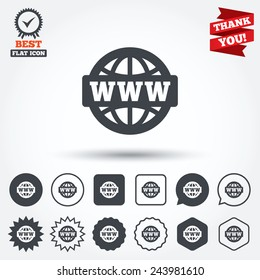 WWW sign icon. World wide web symbol. Globe. Circle, star, speech bubble and square buttons. Award medal with check mark. Thank you. Vector
