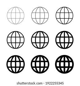 WWW world wide web set site symbol, Internet collection  icon, website address globe, flat outline sign .