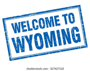 Wyoming blue square grunge welcome isolated stamp