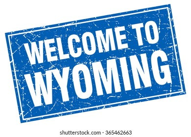 Wyoming blue square grunge welcome to stamp