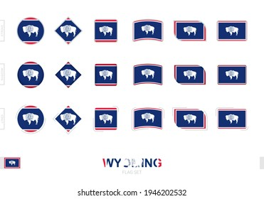 Wyoming flag set, simple flags of Wyoming with three different effects. Vector illustration.