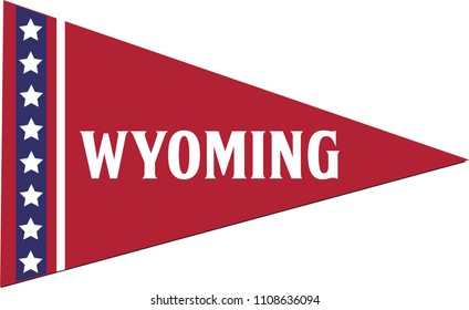 Wyoming Pennant, State Flag, Vector Isolated Banner Triangle
