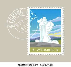 Wyoming postage stamp design.  Vector illustration of exploding geyser. Grunge postmark on separate layer