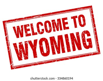 Wyoming red square grunge welcome isolated stamp