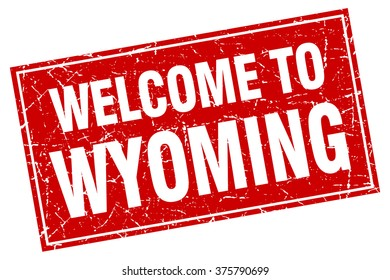 Wyoming red square grunge welcome to stamp