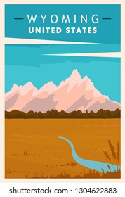 Wyoming retro poster. USA travel illustration. United States of America greeting card. vector illustration.
