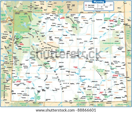 Wyoming State Map Stock Vector (Royalty Free) 88866601 - Shutterstock