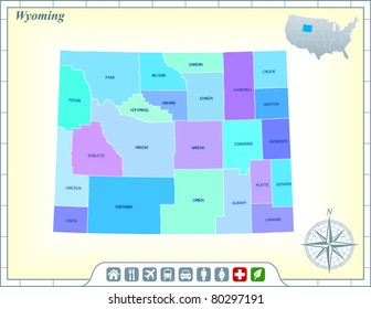 Wyoming State Map with Community Assistance and Activates Icons Original Illustration