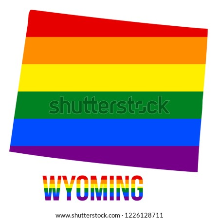 Wyoming State Map LGBT Rainbow Flag Stock Vector (Royalty Free ...