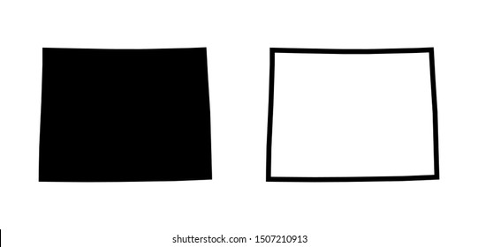 Wyoming State Map Vector - Black Silhouette Blank Outline Map of Wyoming isolated on white background