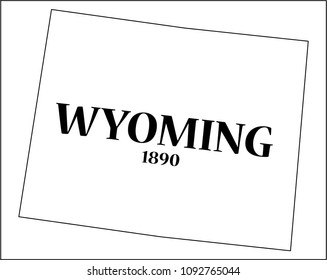 A Wyoming state outline with the date of statehood isolated on a white background
