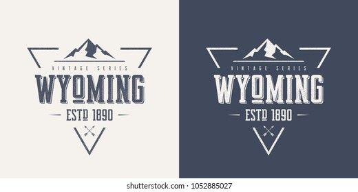 Wyoming state textured vintage vector t-shirt and apparel design, typography, print, logo, poster. Global swatches.