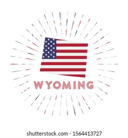 Wyoming sunburst badge. The us state sign with map of Wyoming with American flag. Colorful rays around the logo. Vector illustration.