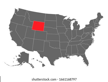 wyoming vector map. High detailed illustration. United state of America country