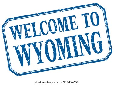 Wyoming - welcome blue vintage isolated label