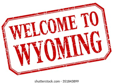 Wyoming - welcome red vintage isolated label