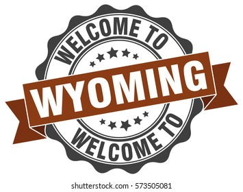 Wyoming. Welcome to Wyoming stamp