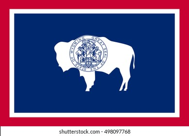 Wyomingite official flag, symbol. American patriotic element. USA banner. United States of America background. Flag of the US state of Wyoming in correct size, proportions, colors, vector illustration