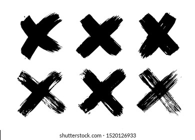 X black mark collection. Cross sign graphic symbol. Hand drawn crossed brush strokes.