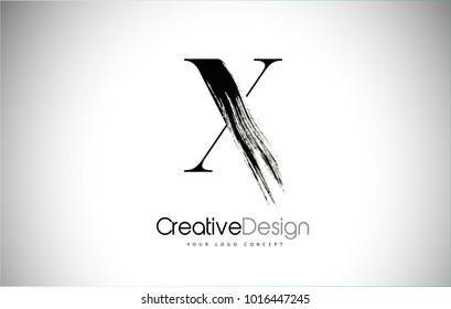 X Brush Stroke Letter Logo Design. Black Paint Logo Letter  Icon with Elegant Vector Design.