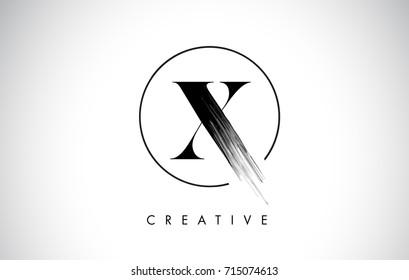 X Brush Stroke Letter Logo Design. Black Paint Logo Leters Icon with Elegant Circle Vector Design.