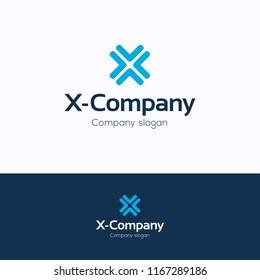 X company logo. Cross blue logotype. Flat energy template