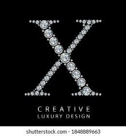 X diamond letter vector illustration. White gem symbol logo for your luxury business, casino, jewelry or web site. Upper letter with many sparkling diamonds isolated on black background.