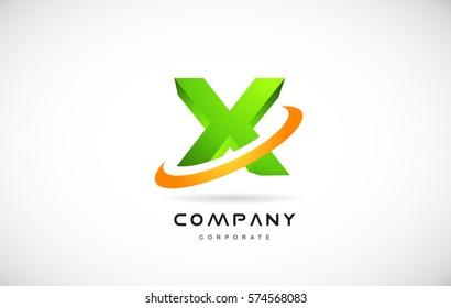 x green 3d letter technology media alphabet vector company logo icon sign design template