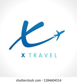 "X letter fly travel company logo. Airline business travel identity brand design with letter ""x"". Speed travel vector symbol template"
