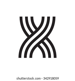 X letter formed by parallel lines. Vector design template elements for your application or corporate identity.