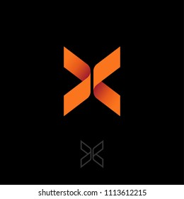 X letter like butterfly. Origami emblem. X origami logo, like orange ribbon. Two elements make up the X letter. Contour option.