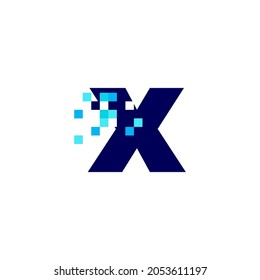 x letter lowercase pixel mark digital 8 bit logo vector icon illustration