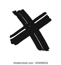 X. Letter X made with ink. Black cross. Mark grunge style. vector