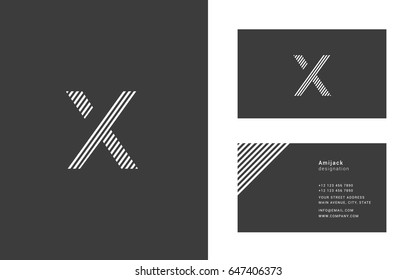 X letter narrow line logo with Business card template