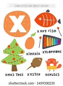X letter objects and animals including Xmas tree, x ray fish, ximenia, xylophone, xyster, xeruses. Learn english alphabet, letters, words for kids