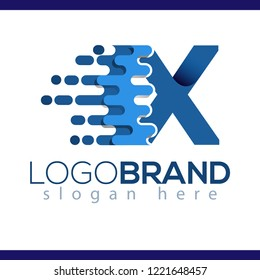 X Letter Pixel Icon Vector Logo element. Letter speed logo template