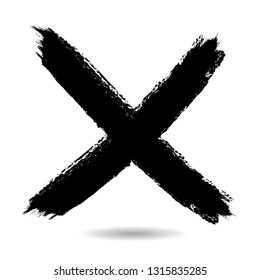 X Marks .Two Crossed Vector Brush Strokes. Rejected sign in grunge style.