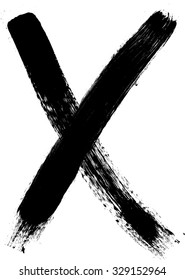 X Marks .Two Crossed Vector Brush Strokes.