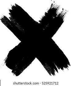 X Marks .Handwritten Letter . Sign . Two Crossed Vector Brush Strokes.