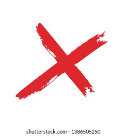 X Marks .Two Red Crossed Vector Brush Strokes. Rejected sign in grunge style.
